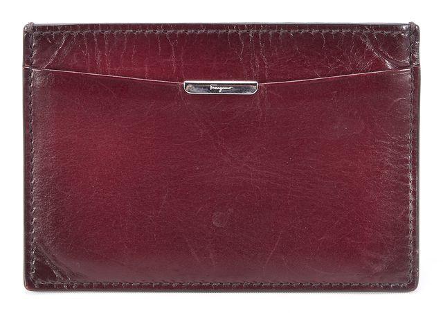 SALVATORE FERRAGAMO Brown Leather ID Holder Card Case