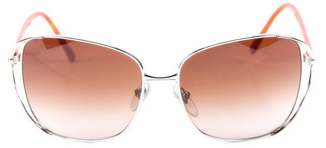 SALVATORE FERRAGAMO Orange Silver Rhinestone Embellished Square Sunglasses