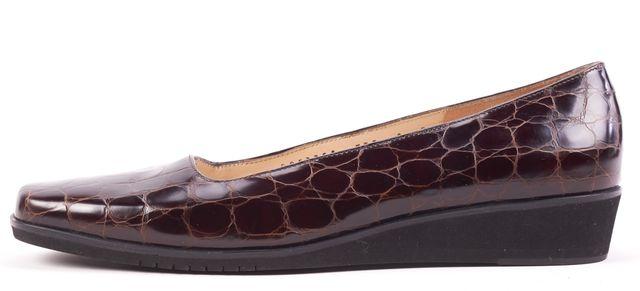 SALVATORE FERRAGAMO Brown Crocodile Leather Mini Wedge Loafers