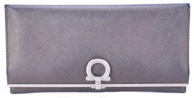 SALVATORE FERRAGAMO Pebbled Gray Mercurio Gancini Continental Wallet