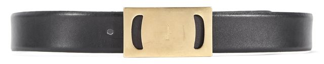 SALVATORE FERRAGAMO Black Leather Gold Buckle Belt