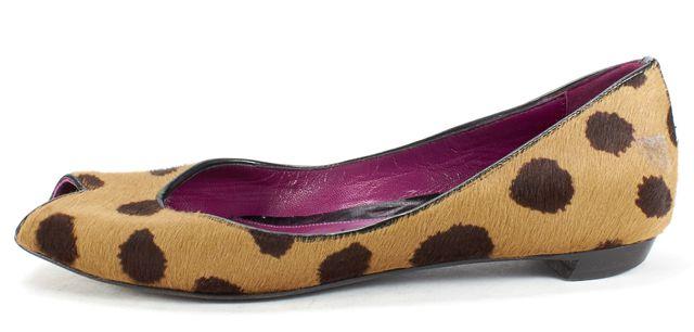 SERGIO ROSSI Brown Animal Print Calf Hair Open Toe Ballet Flats