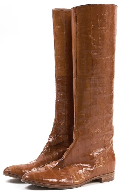 SERGIO ROSSI Brown Textured Leather Knee High Tall Boots