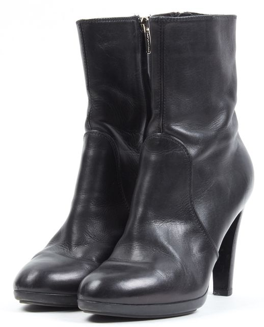 SERGIO ROSSI Black Leather Heeled Ankle Boots