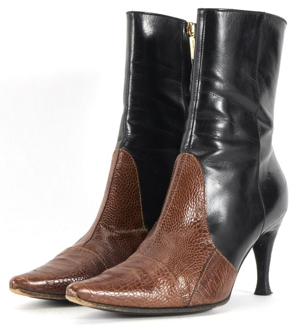 SERGIO ROSSI Black Brown Embossed Leather Mid-Calf Heeled Boots