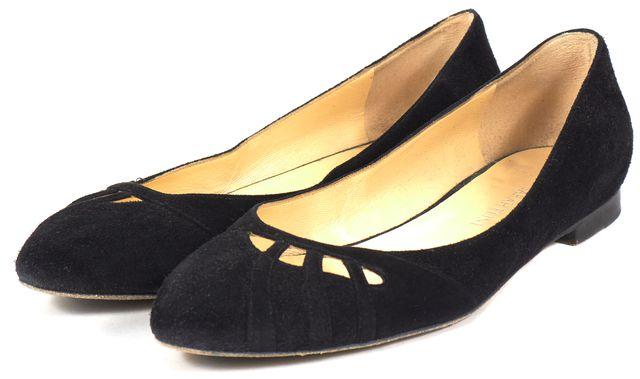 SARAH FLINT Black Cutout Suede Pointed Toe Slip-On Flats