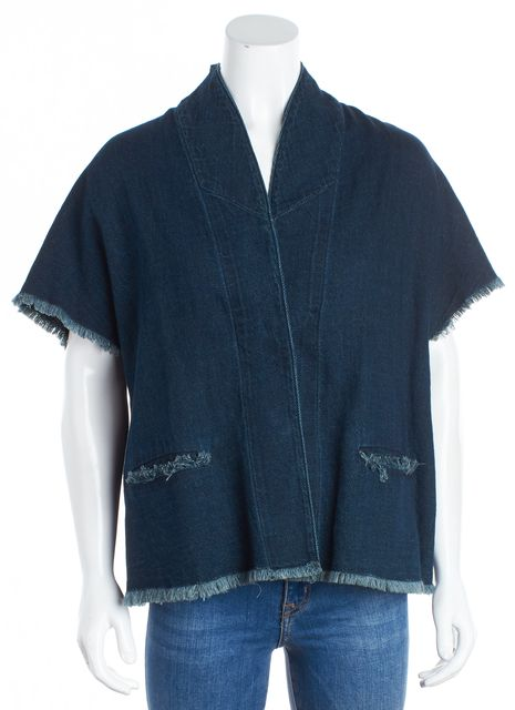 SIMON MILLER Blue Denim Raw Edge 2 Button Basic Jacket