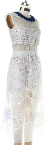 SELF-PORTRAIT White Lace Sequin Iris Layered Dress