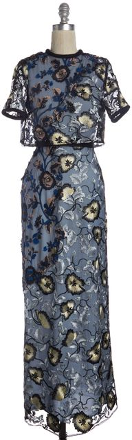 SELF-PORTRAIT Blue Abstract Floral Lace Layered Ball Gown Casual Dress