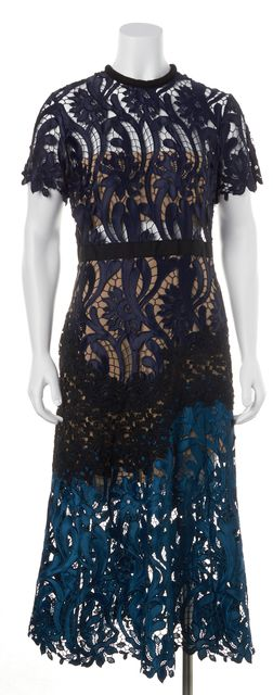 SELF-PORTRAIT Blue Color Block Floral Lace Semi Sheer Maxi Dress