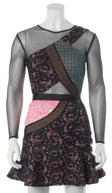 SELF-PORTRAIT Multi Color Mesh Lace Sequined Fit & Flare Mini Dress