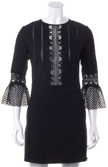 SELF-PORTRAIT Black Lace Bell Sleeve Above Knee Shift Dress