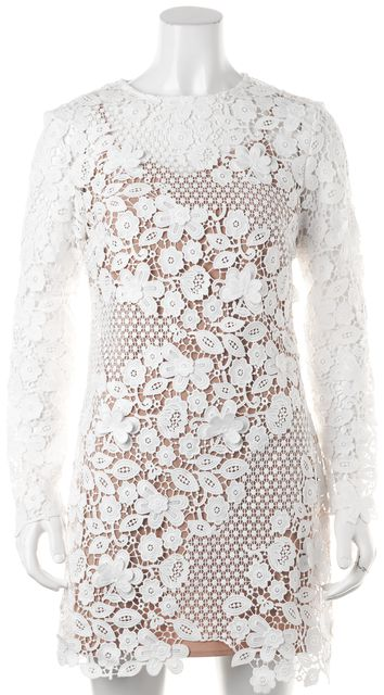 SELF-PORTRAIT White Floral Crochet Lace Overlay Sheath Dress