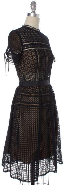 SELF-PORTRAIT Black Beige Crochet Lace Overlay Semi Sheer Fit & Flare Dress