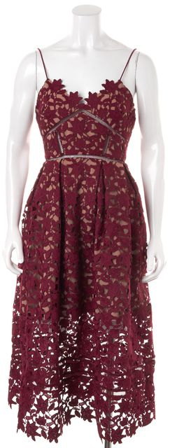 SELF-PORTRAIT Merlot Red Crochet Lace Empire Waist Fit & Flare Dress