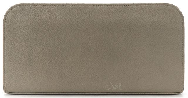 SAINT LAURENT Gray Leather Long Zip Around Continental Wallet