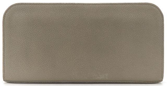 SAINT LAURENT Gray Leather Long Zip Around Continental Wallet