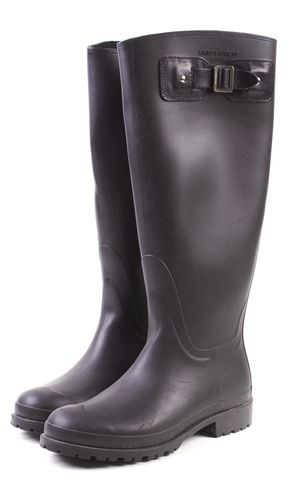 SAINT LAURENT Black Rubber Leather Detail Knee High Rain Boots