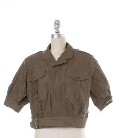 SAINT LAURENT Green Cropped Short Sleeve Military Jacket