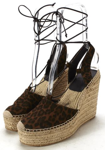 SAINT LAURENT Brown Black Suede Leopard Print Ankle Strap Espadrille Wedge