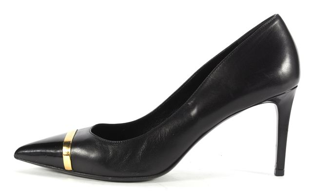 SAINT LAURENT Black Gold Pointed Toe Pump Heels