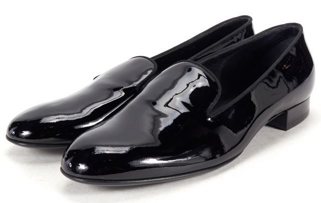 SAINT LAURENT Black Patent Leather Loafers