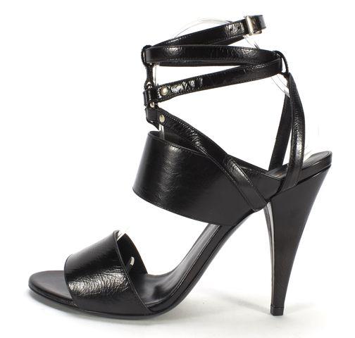 SAINT LAURENT Black Strappy Leather Fetish 105 Bondage Ankle Wrap Heels