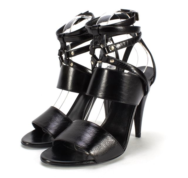 SAINT LAURENT Black Strappy Leather Fetish 105 Bondage Ankle Wrap Heels