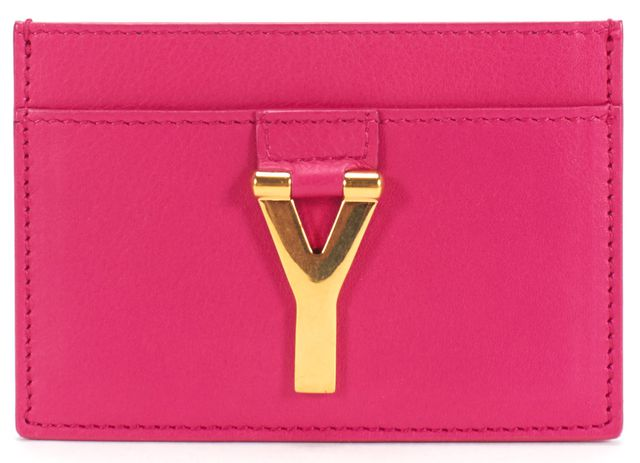 SAINT LAURENT Fuchsia Pink Leather Logo Embellished Card Case