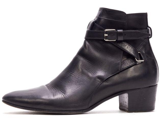 SAINT LAURENT Black Leather Buckle Blake Jodhpur Ankle Boots