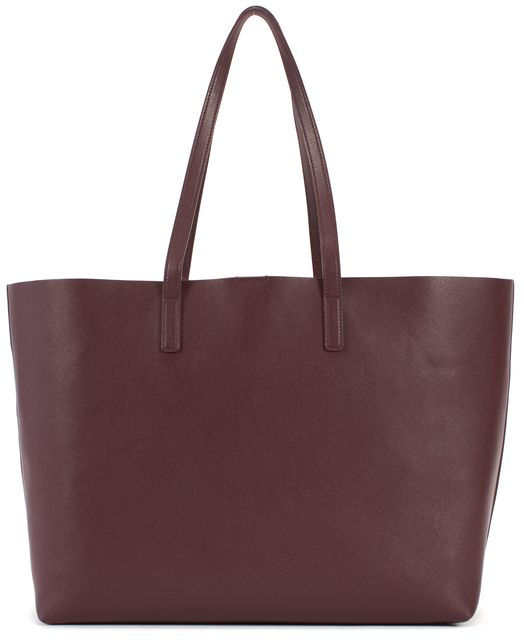 SAINT LAURENT Bordeaux Red Leather Shopper Tote Bag