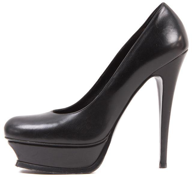 SAINT LAURENT Black Leather Platform Heels