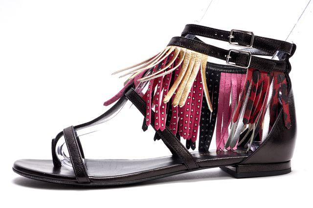 SAINT LAURENT Black Pink Gold Red Leather Fringe Gladiator Sandals