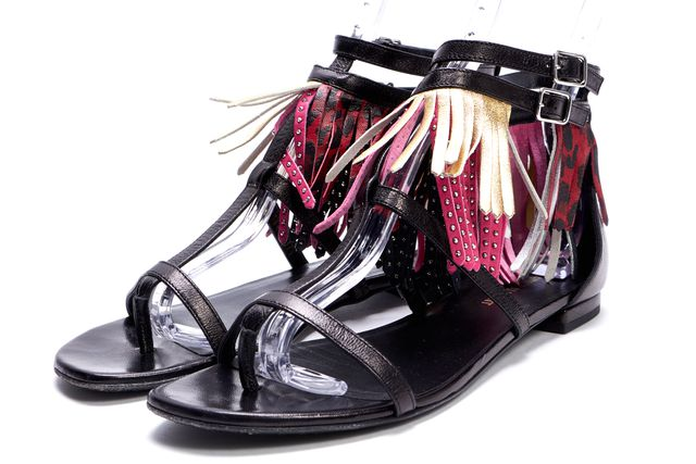SAINT LAURENT Black Pink Gold Red Leather Fringe Gladiator Sandals