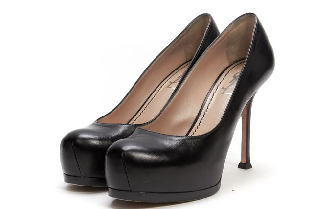 SAINT LAURENT Black Leather Pump Heels