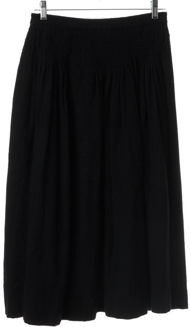 SAINT LAURENT Black Vintage Below The Knee Elastic Waist Full Skirt