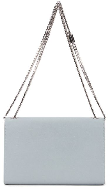 SAINT LAURENT Light Blue Classic Medium Grainy Leather Crossbody Bag