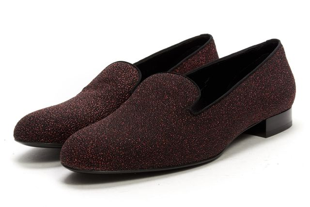 SAINT LAURENT Red Black Textured Suede Sugar Changy Loafers