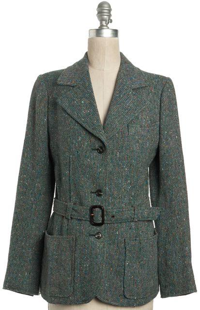 SAINT LAURENT Vintage Multi-color Green Basic Coat Jacket
