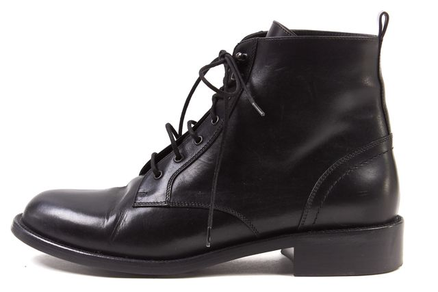 SAINT LAURENT Black Leather Patti Military Ankle Flat Lace Up Boots