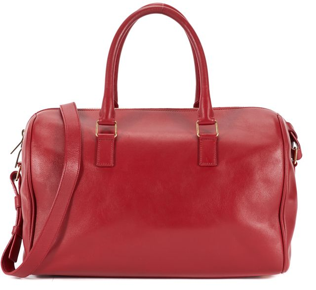 SAINT LAURENT Lipstick Red Calfskin Leather Classic Baby Duffel Bag