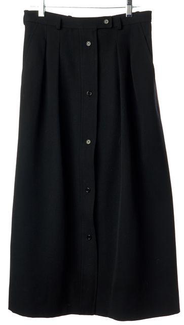 SAINT LAURENT Black Vintage Wool Button Front Pleated Midi A-Line Skirt