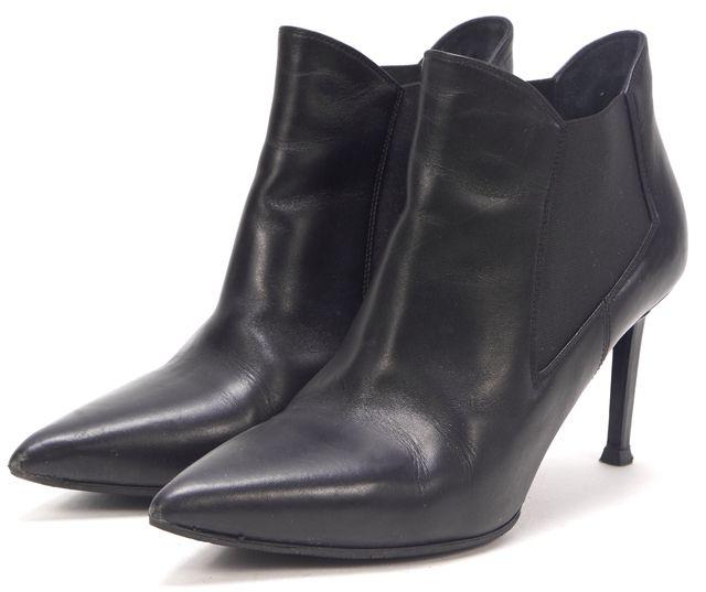 SAINT LAURENT Black Leather Ele Pointed Toe Ankle Boots Heels