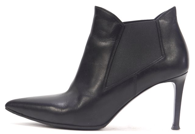 SAINT LAURENT Black Leather Ele Pointed Toe Ankle Boots