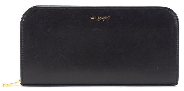 SAINT LAURENT Black Leather Zip Around Continental Wallet