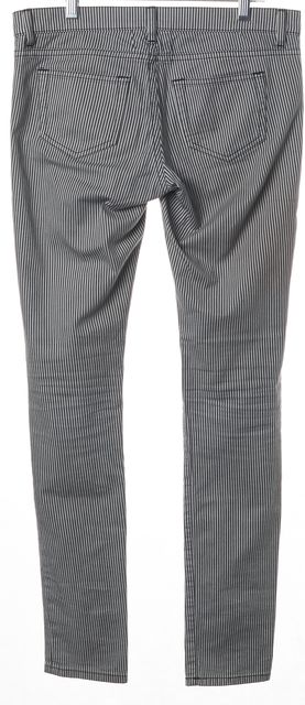 SAINT LAURENT Black White Striped Stretch Cotton Denim Skinny Jeans