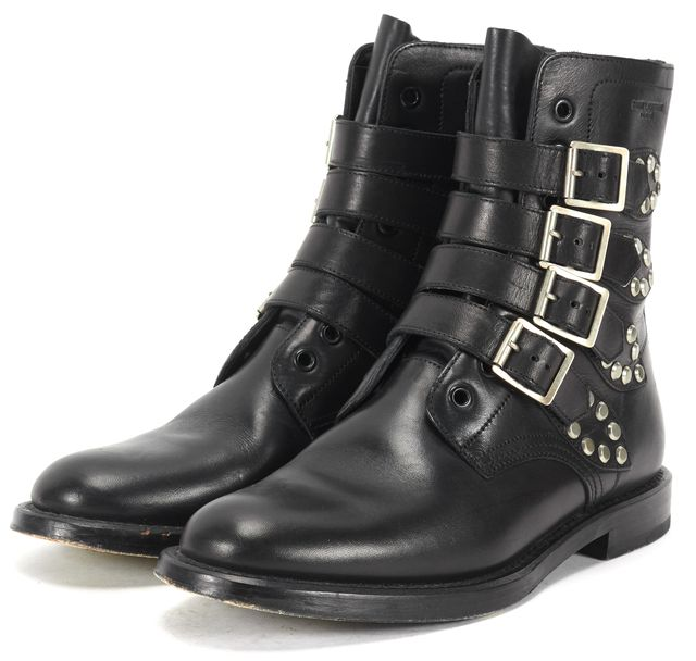 SAINT LAURENT Black Leather Silver Studded Buckle Ankle Boots