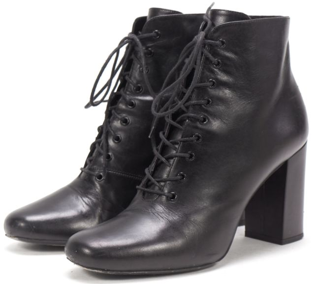 SAINT LAURENT Black Leather Ankle Lace Boots US 8 IT 39