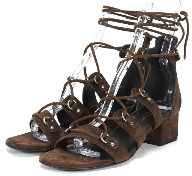 SAINT LAURENT Brown Suede Lace Up Heeled Gladiator Sandals