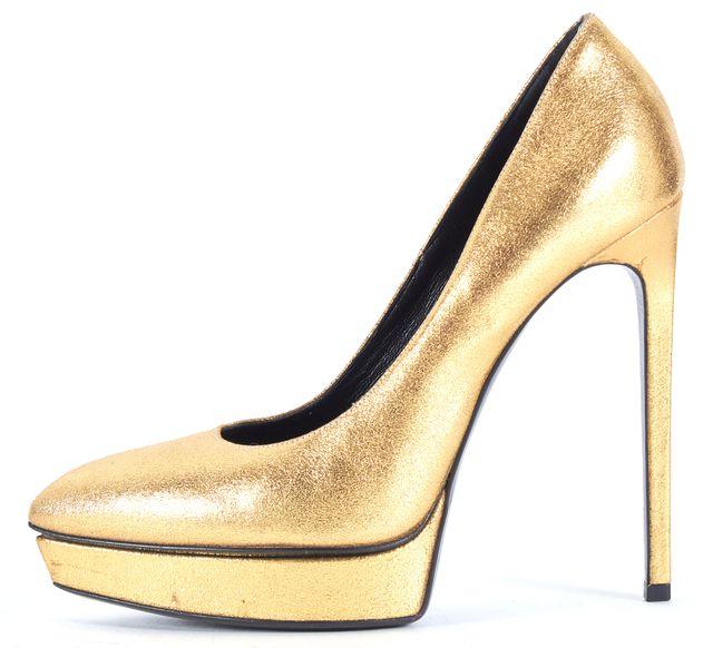 SAINT LAURENT Metallic Gold Leather Pointed Toe Platform Heels